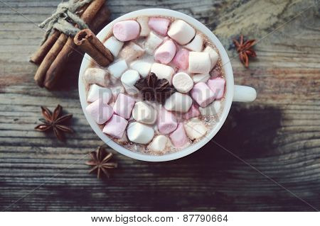 White cup of hot cocoa with marshmallows, star anise and cinnamon