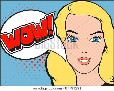 Smiling woman face with open mouth. WOW bubble and expression. Vector illustration