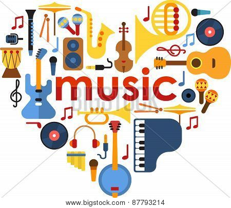 Music Heart set vector.