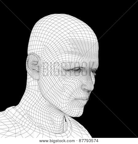 Concept or conceptual 3D wireframe young human male or man face or head isolated on background