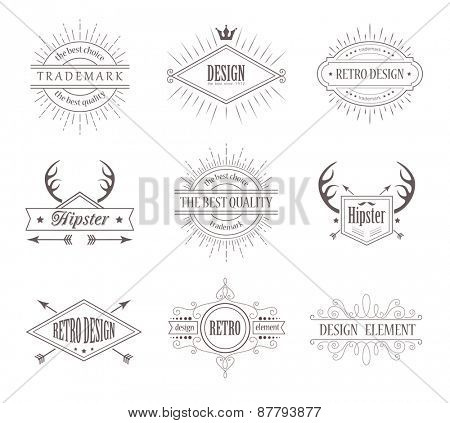 Set of Vintage Labels. Line Emblems, Frames, Badges for Business. Hipster Design Elements. Borders with Sunburst.