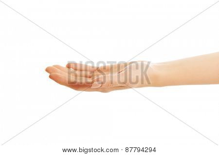 Female hand holding something invisible.