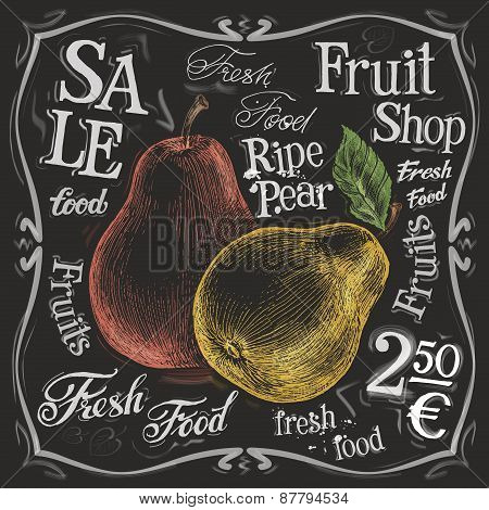 ripe pear vector logo design template.  fresh fruit, food or menu board icon.