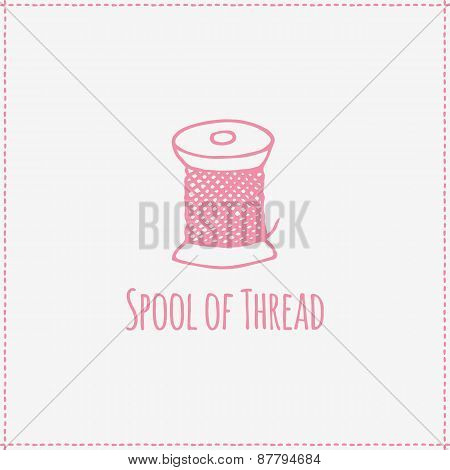 Vector illustration. Hand-drawn spool of thread