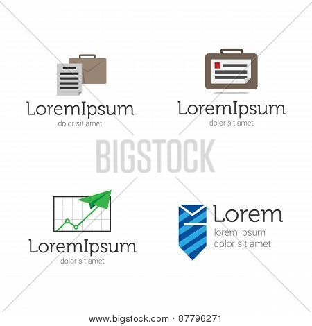 Vector modern flat law company or marketing agency logo set