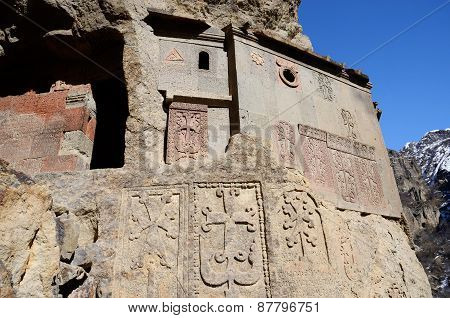 Cells Of Geghard Rock Monastery With Ancient Khachkars ,armenia, Caucasus, Unesco World Heritage