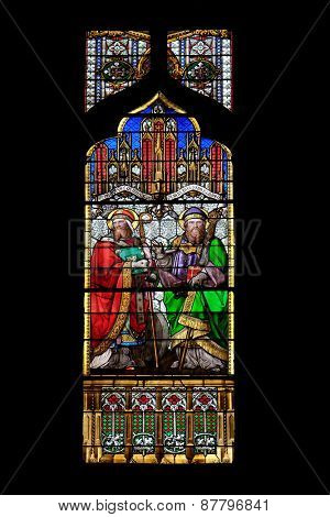 ZAGREB, CROATIA - APRIL 04,2015:St Quirinus of Sescia and Blessed Agostino Gasotti, stained glass in Zagreb cathedral dedicated to the Assumption of Mary and to kings Saint Stephen and Saint Ladislaus