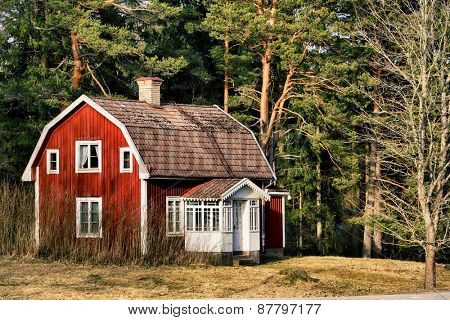 old rural farm, cottage house, trees and forest, 17th century Sweden