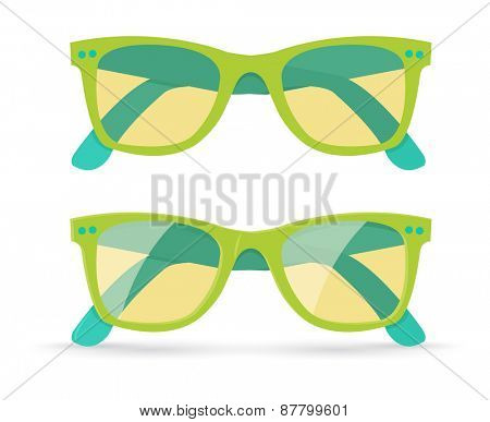 Vector illustration of different style sunglasses, isolated on white background, eps10
