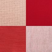 picture of lint  - Set of pink fabric samples texture background - JPG