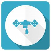 picture of hydraulics  - water blue flat icon hydraulics sign  - JPG