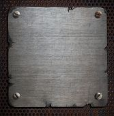 image of edging  - rusty metal plate with torn edges background - JPG