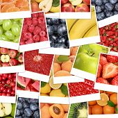 picture of banana  - Food fruits background with apple fruit oranges lemons banana and strawberry - JPG