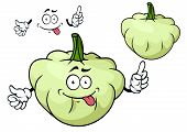 image of tease  - Teasing pattypan squash vegetable cartoon character with flattened scalloped edges isolated on white background for agriculture or vegetarian menu design - JPG