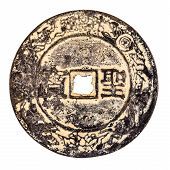 image of copper coins  - an ancient chinese rusty coin isolated over a white background - JPG