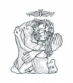 picture of trinity  - Hand drawn vector illustration or drawing of the Holy Trinity - JPG