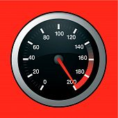 stock photo of speedo  - Spped dial showing maximum speed at 200 - JPG