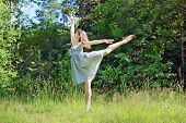image of swallow  - Beautiful girl in dress in pose of swallows in clearing in woods - JPG