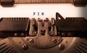 picture of fin  - Vintage inscription made by old typewriter FIN - JPG