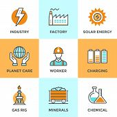 image of solar battery  - Line icons set with flat design elements of electric industry factory production mining minerals solar energy chemical analysis planet care - JPG