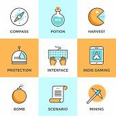 stock photo of compasses  - Line icons set with flat design elements of indie gaming elements scenario video game develop search compass player protection mining resources - JPG