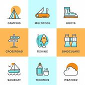 foto of crossroads  - Line icons set with flat design elements of recreation camping activity directional sign crossroad hiking and fishing tent camp outdoor activities - JPG
