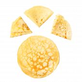 pic of crepes  - Collection of whole and folded crepes isolated on white - JPG