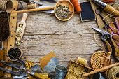 image of seed  - Garden tools and seeds on a wooden background - JPG