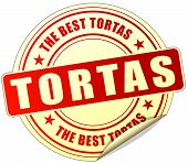 image of torta  - illustration of tortas red sticker on white background - JPG