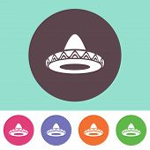 picture of sombrero  - Single vector sombrero icon on round colorful buttons - JPG