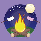 image of bonfire  - Vector illustration of bonfire at night with marshmallows - JPG