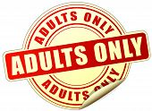 picture of adults only  - illustration of adults only sticker on white background - JPG