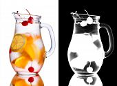stock photo of pitcher  - Alcoholic cocktail with orange in misted pitcher decorated with cherries - JPG