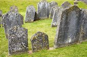 image of graveyard  - gravestones at ancient graveyard in St Canice - JPG