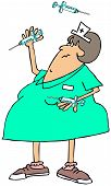 pic of juggling  - This illustration depicts a chubby nurse juggling three syringes with needles - JPG