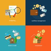 stock photo of financial management  - personal finance icon set such as cashflow management and spending plan in vector illustration - JPG