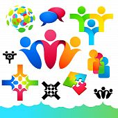 foto of people icon  - A collection of connecting people icons and elements - JPG
