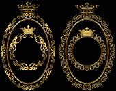 image of oval  - set of golden round and oval borders with crown  - JPG