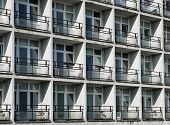 stock photo of ugly  - Old ugly hostel in a sunny day - JPG