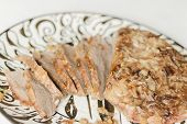 foto of brisket  - Jewish Passover brisket with savory walnut breading sliced and ready to serve - JPG