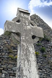 stock photo of celtic  - old celtic cross head stone from a grave yard in county kerry ireland  - JPG