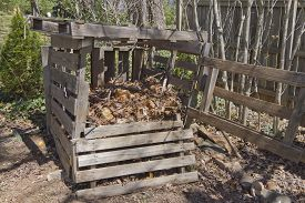 picture of decomposition  - A rickety home made compost bin outside made of recycled wood and filled with different levels of compost in various stages of decomposition - JPG