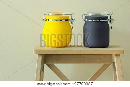 Colorful Plastic Jar On Table