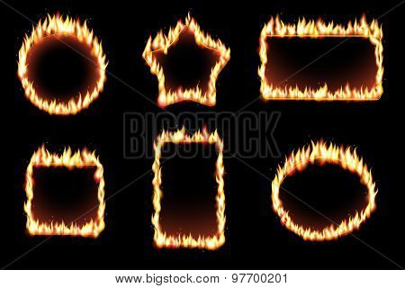 Vector set of fire frames