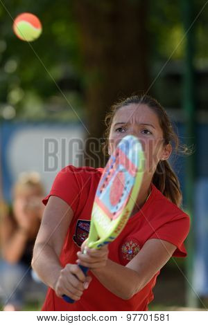 MOSCOW, RUSSIA - JULY 17, 2015: Julia Chubarova of Russia in the quarterfinal match of the Beach Tennis World Team Championship against Japan. Russia won the match 3-0