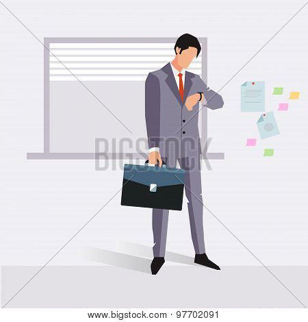Businessman late for an appointment