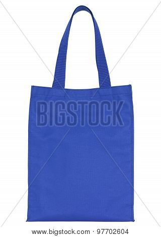 Blue Shopping Fabric Bag Isolated On White With Clipping Path