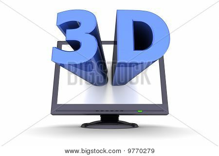 Black Flat Screen Monitor - Blue Word 3D
