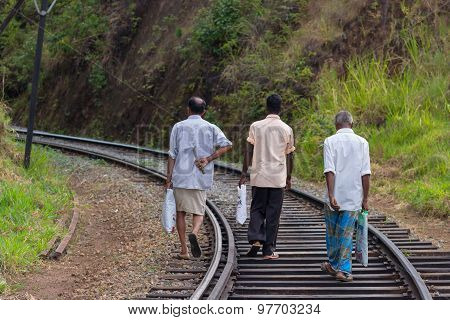 People Walking On The Railway In Sri Lanka
