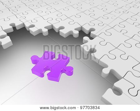 Purple puzzle surrounded by white puzzles